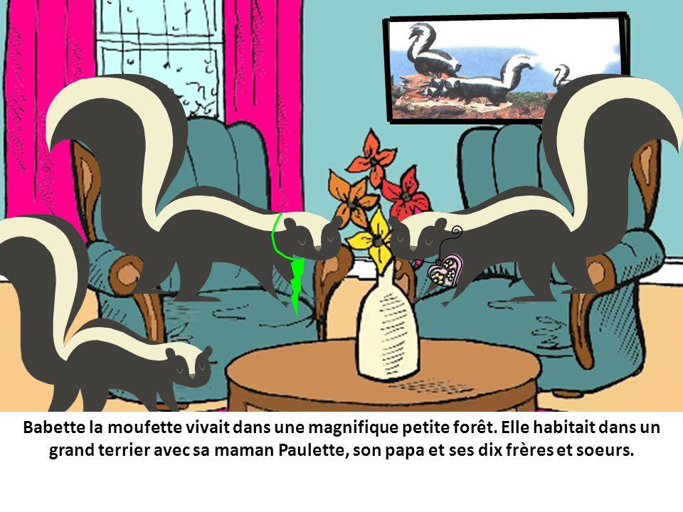 Babette la moufette vivait dans une magnifique petite forêt