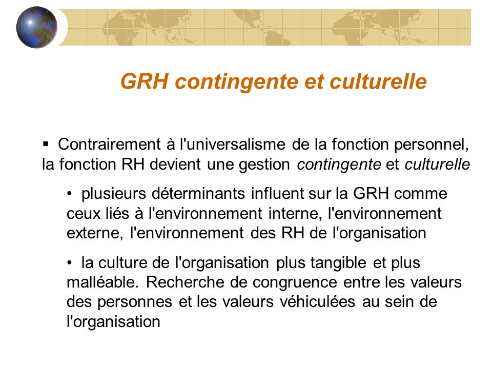 GRH contingente et culturelle