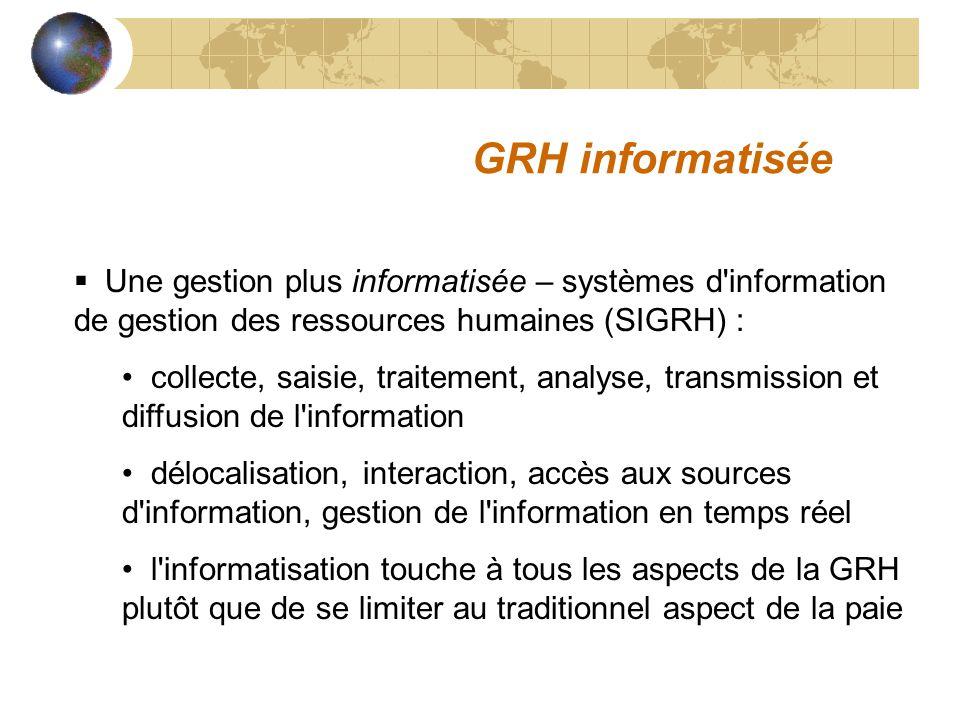 GRH informatisée Une gestion plus informatisée – systèmes d information de gestion des ressources humaines (SIGRH) :