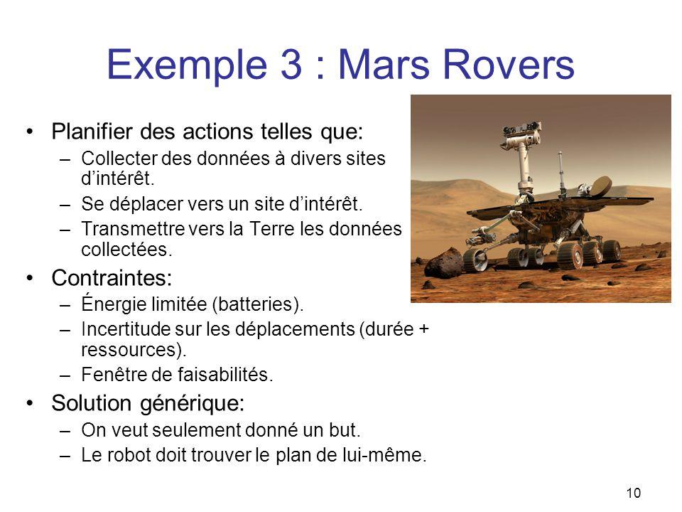 Exemple 3 : Mars Rovers Planifier des actions telles que: Contraintes: