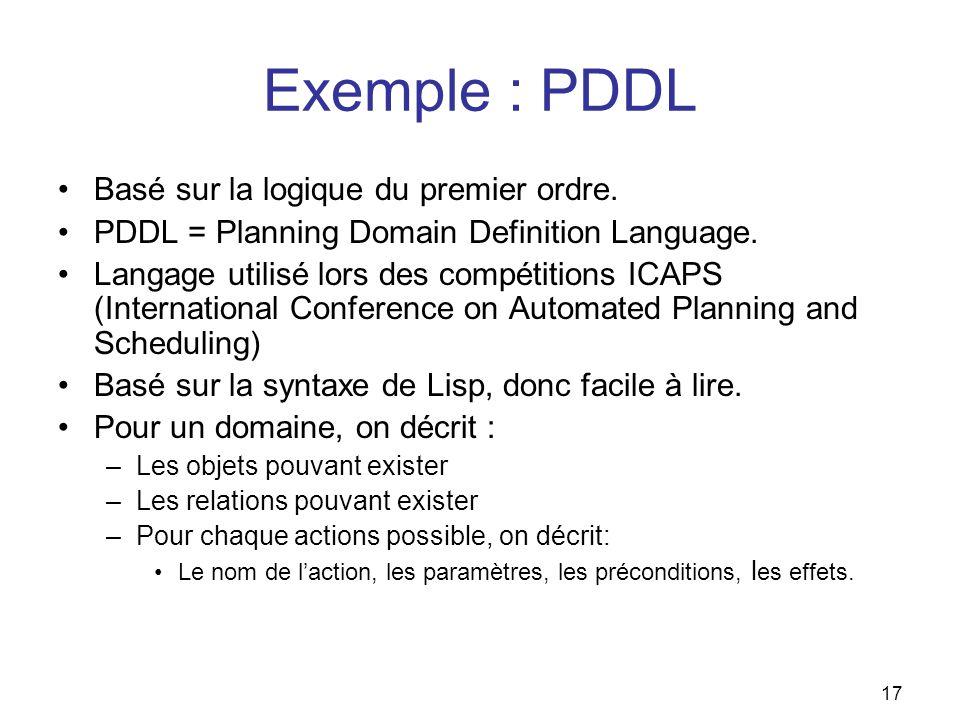 Exemple : PDDL Basé sur la logique du premier ordre.