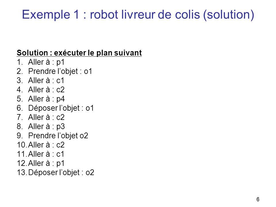 Exemple 1 : robot livreur de colis (solution)