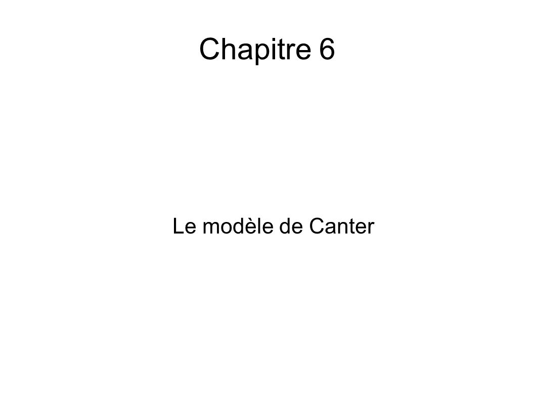 Chapitre 6 Le modèle de Canter