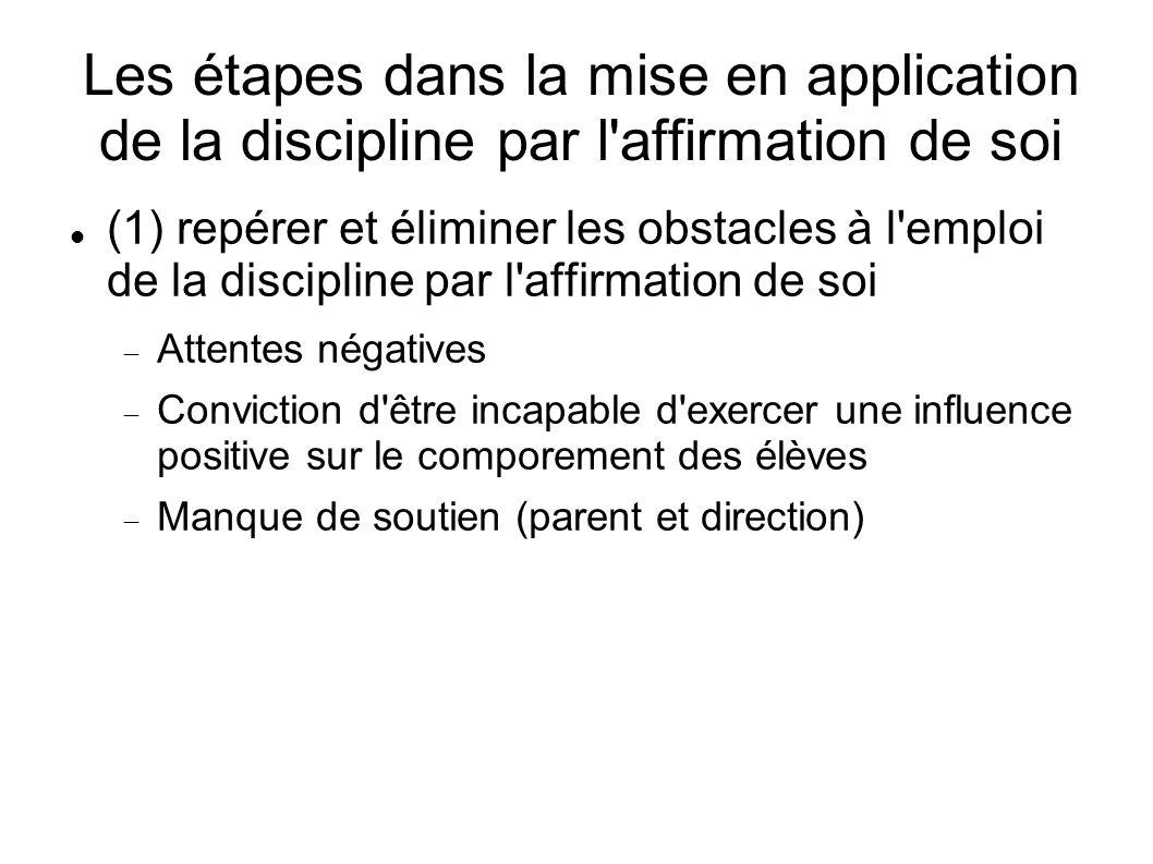 Les étapes dans la mise en application de la discipline par l affirmation de soi