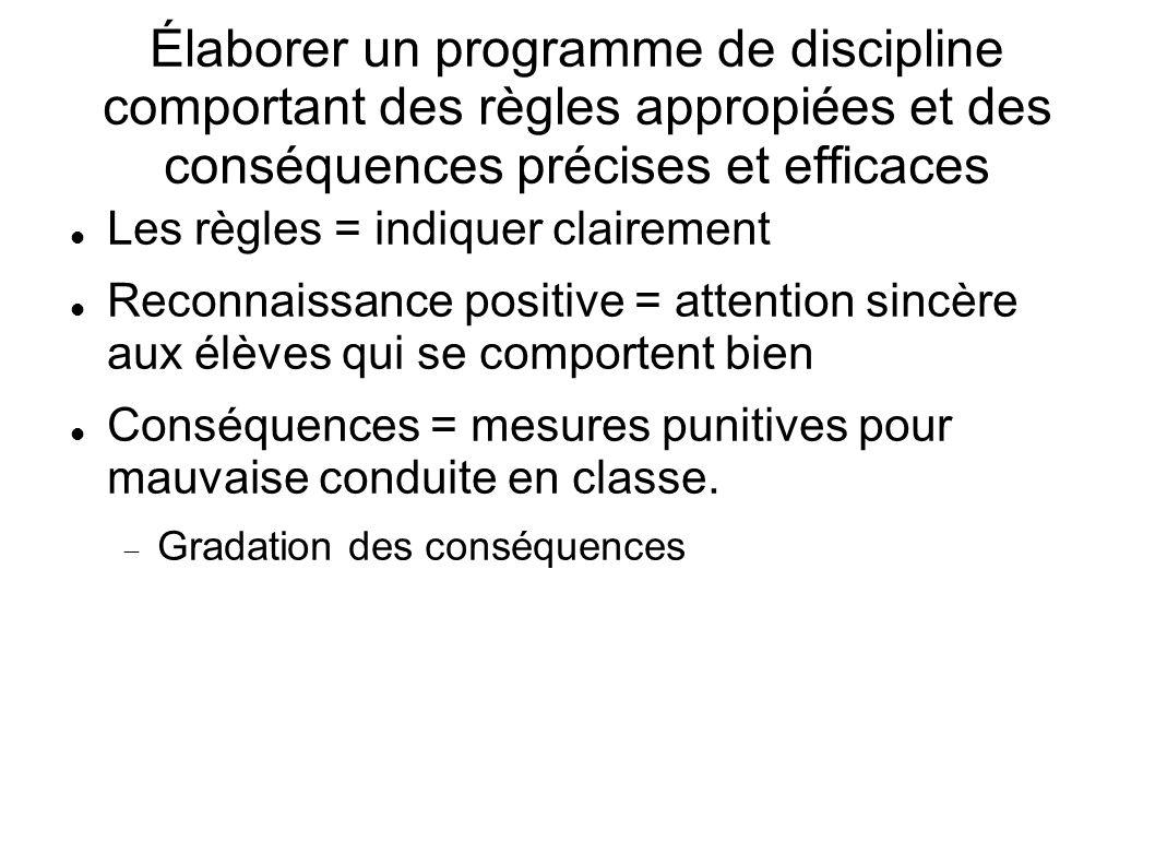Élaborer un programme de discipline comportant des règles appropiées et des conséquences précises et efficaces