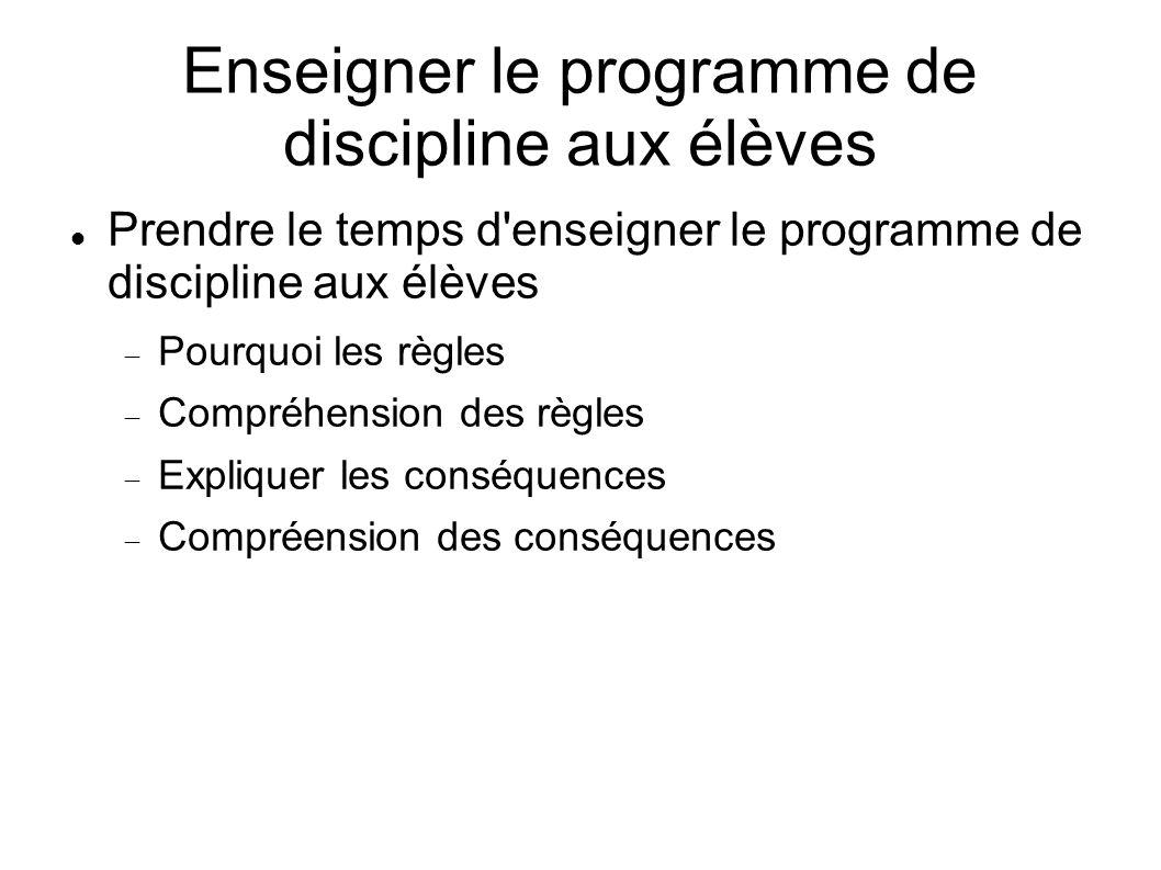 Enseigner le programme de discipline aux élèves