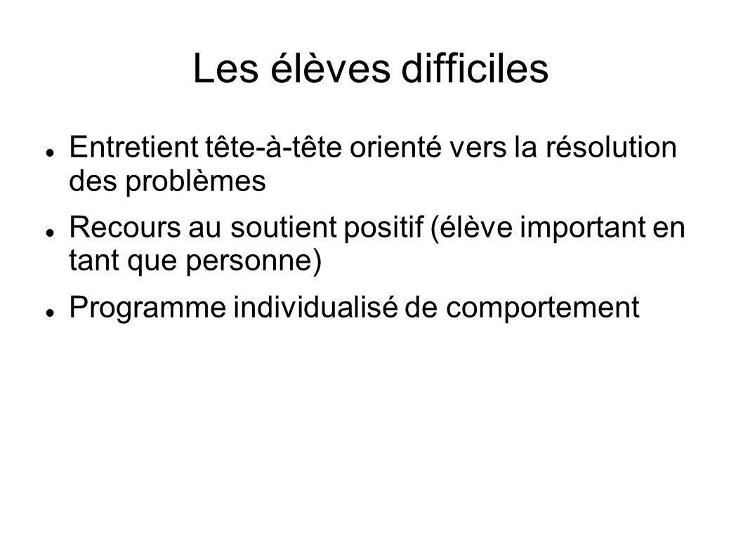 Les élèves difficiles Entretient tête-à-tête orienté vers la résolution des problèmes.