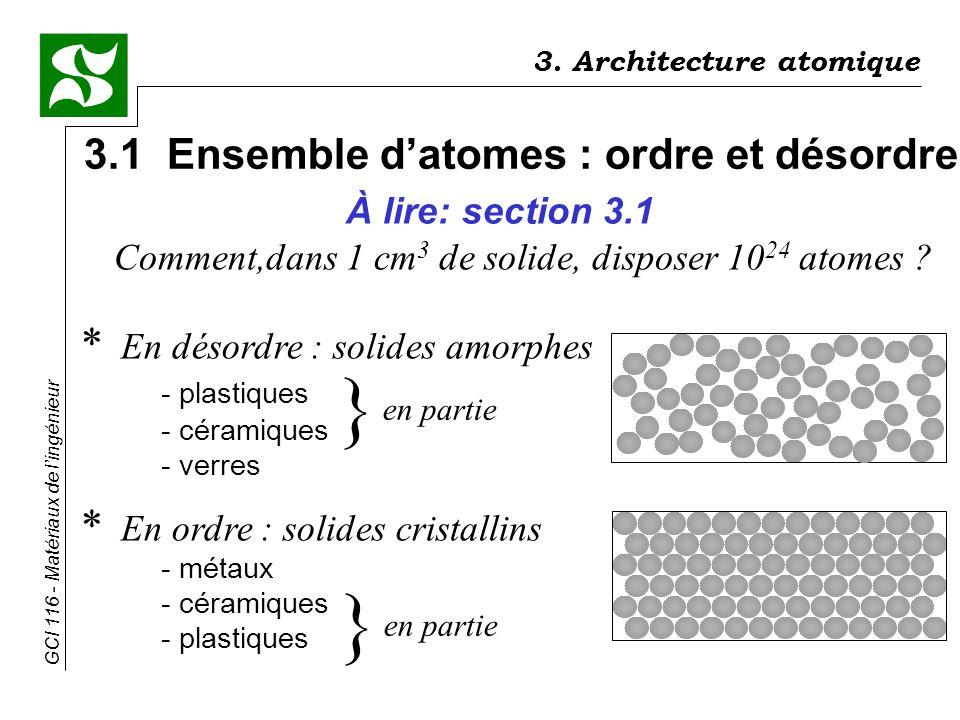 } } 3.1 Ensemble d'atomes : ordre et désordre À lire: section 3.1
