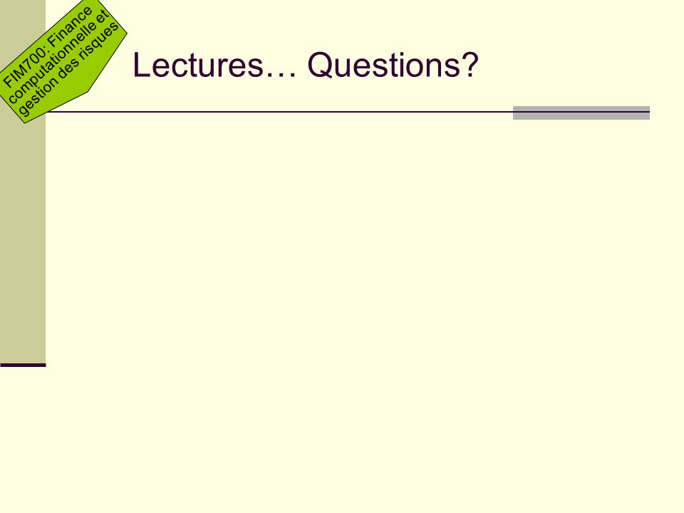 Lectures… Questions