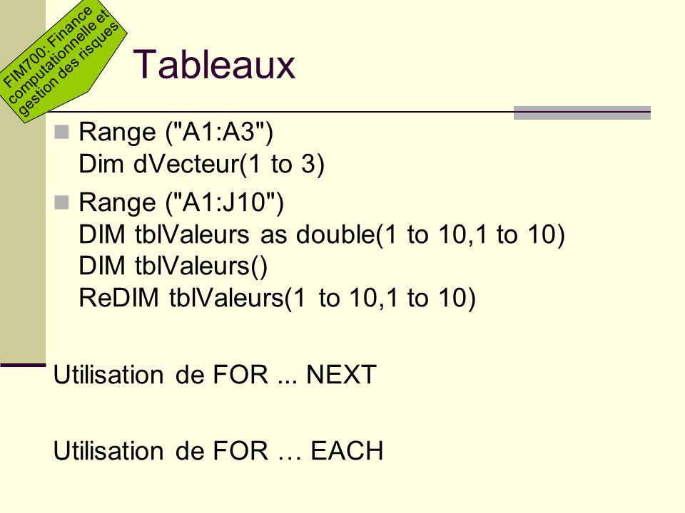 Tableaux Range ( A1:A3 ) Dim dVecteur(1 to 3)