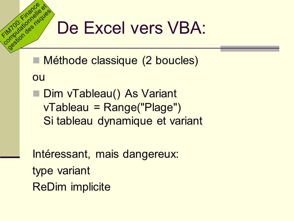 De Excel vers VBA: Méthode classique (2 boucles) ou