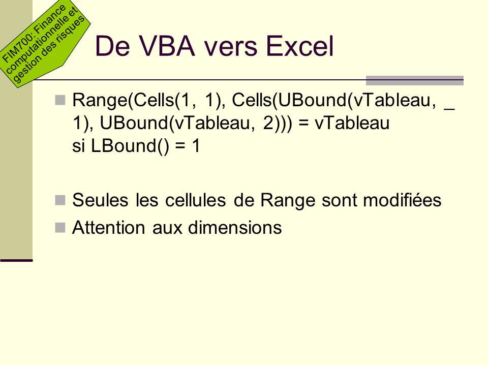 De VBA vers Excel Range(Cells(1, 1), Cells(UBound(vTableau, _ 1), UBound(vTableau, 2))) = vTableau si LBound() = 1.