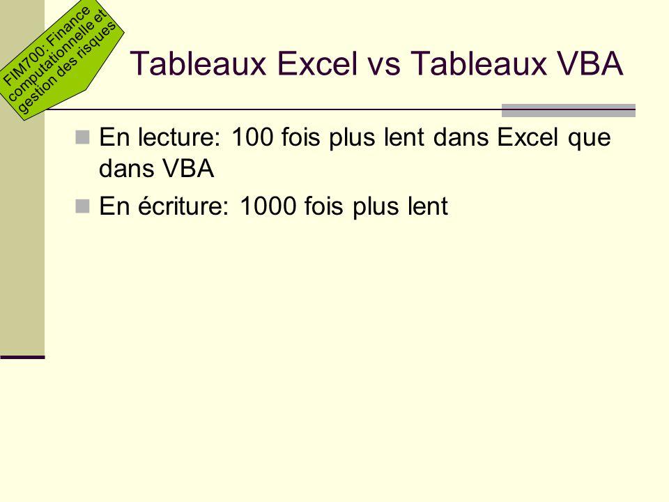 Tableaux Excel vs Tableaux VBA