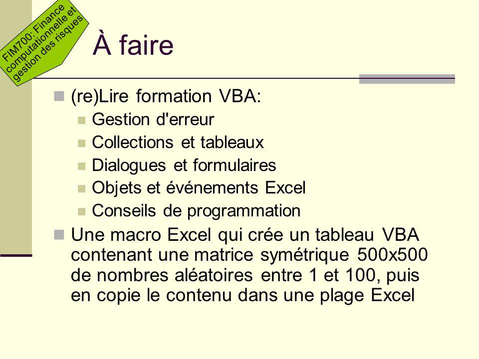 À faire (re)Lire formation VBA:
