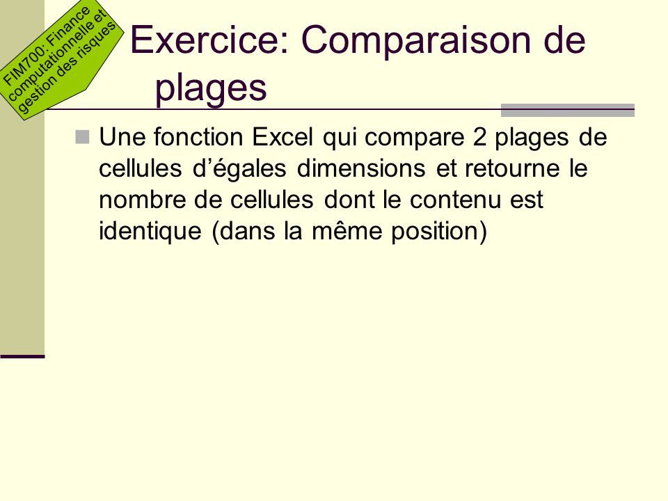 Exercice: Comparaison de plages
