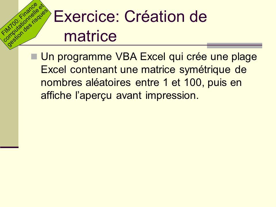 Exercice: Création de matrice