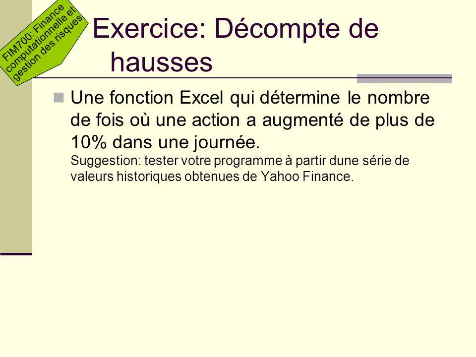 Exercice: Décompte de hausses