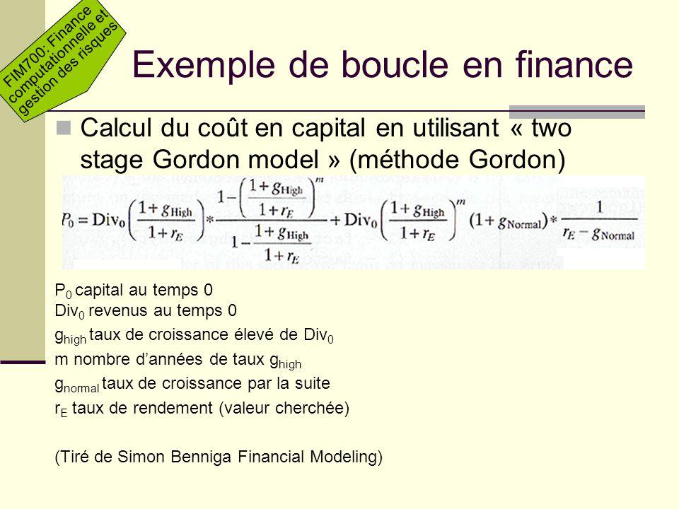 Exemple de boucle en finance