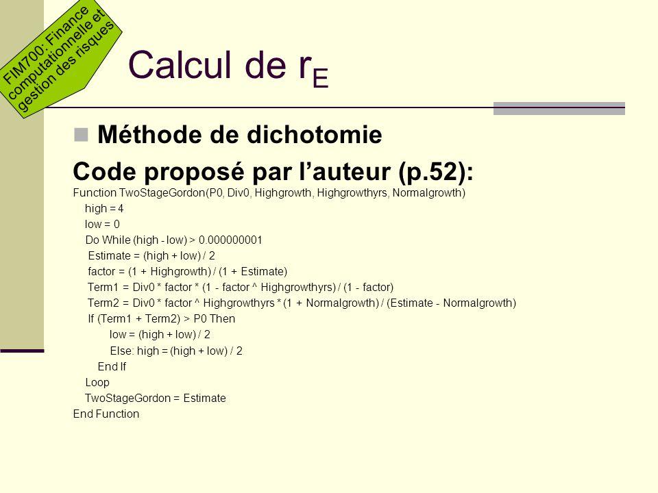 Calcul de rE Méthode de dichotomie