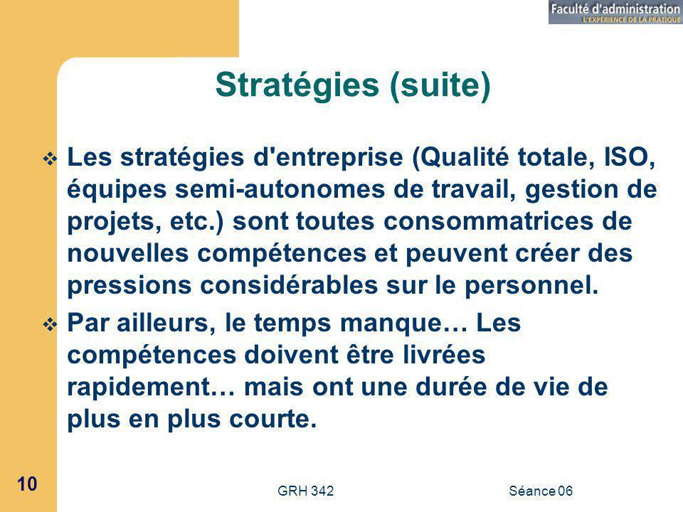 Stratégies (suite)