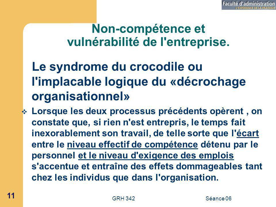 Non-compétence et vulnérabilité de l entreprise.