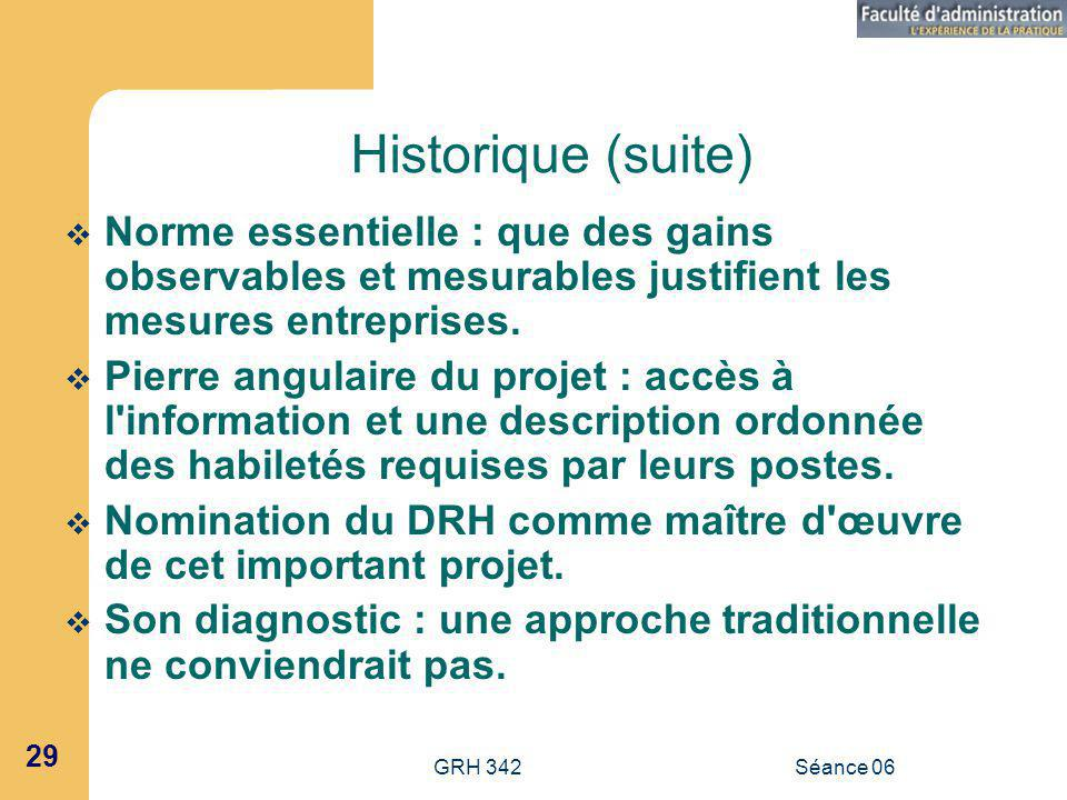 Historique (suite) Norme essentielle : que des gains observables et mesurables justifient les mesures entreprises.
