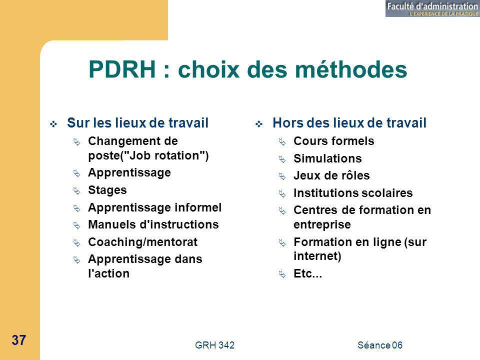 PDRH : choix des méthodes