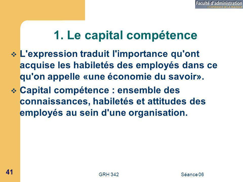 1. Le capital compétence L expression traduit l importance qu ont acquise les habiletés des employés dans ce qu on appelle «une économie du savoir».
