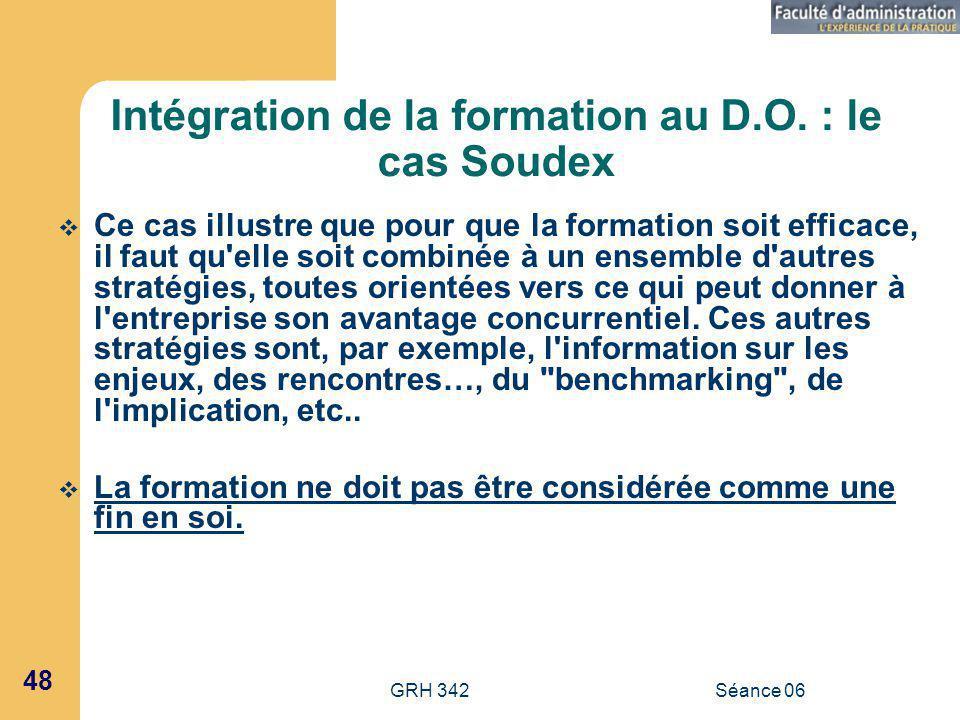 Intégration de la formation au D.O. : le cas Soudex