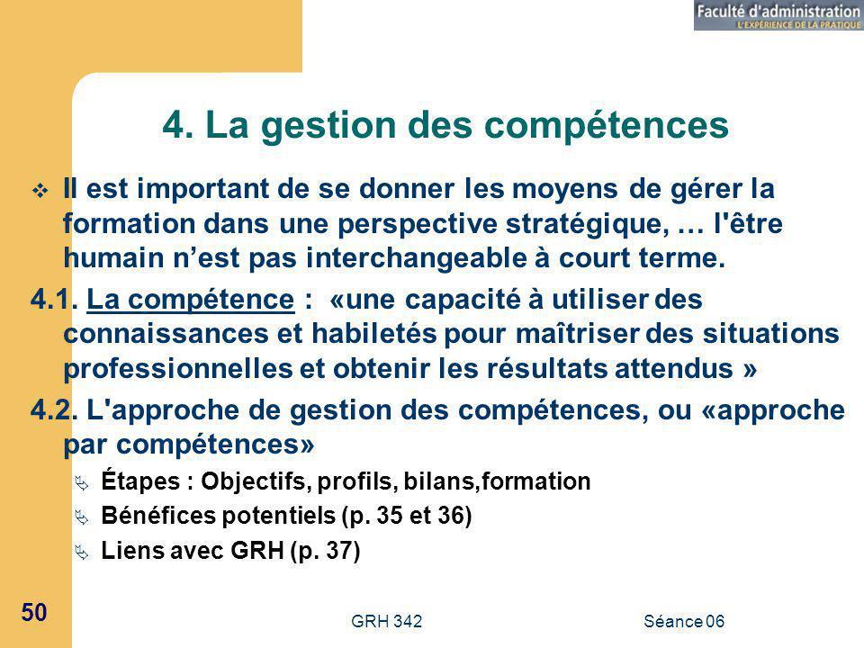 4. La gestion des compétences