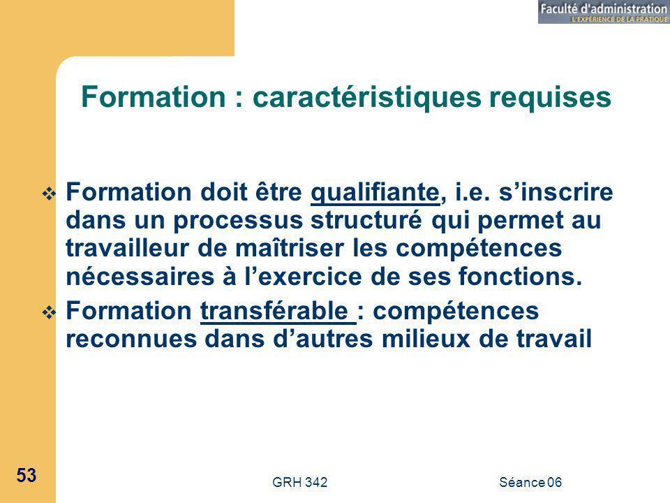Formation : caractéristiques requises