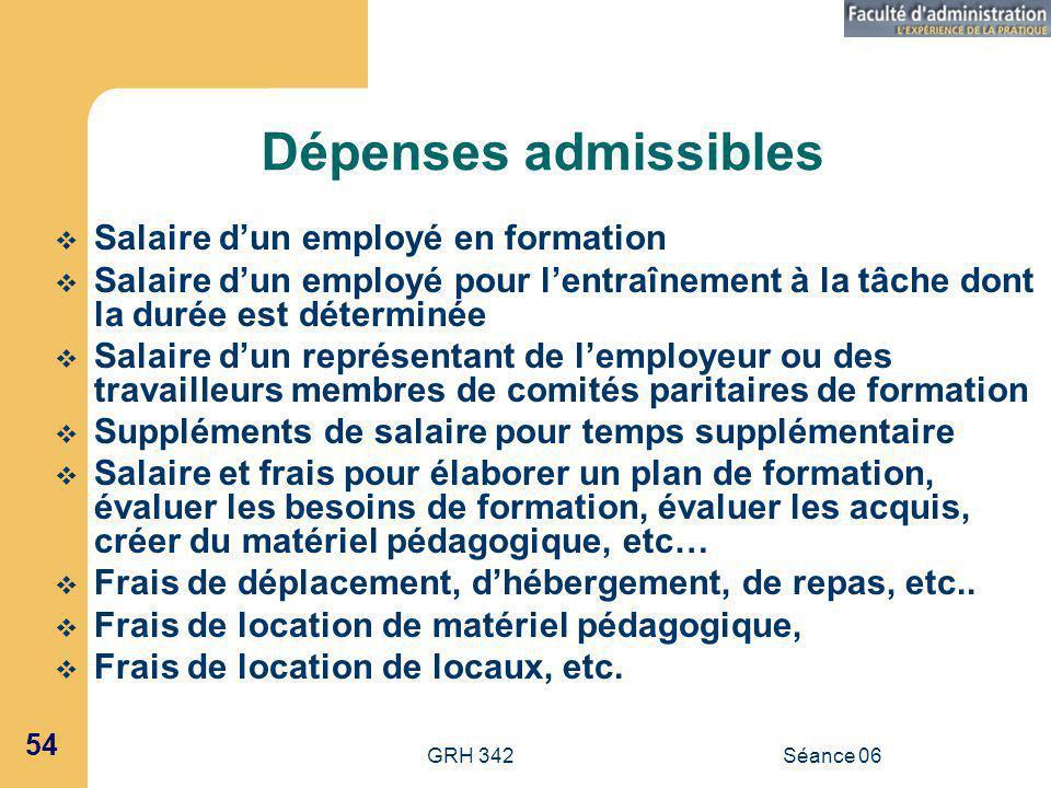 Dépenses admissibles Salaire d'un employé en formation