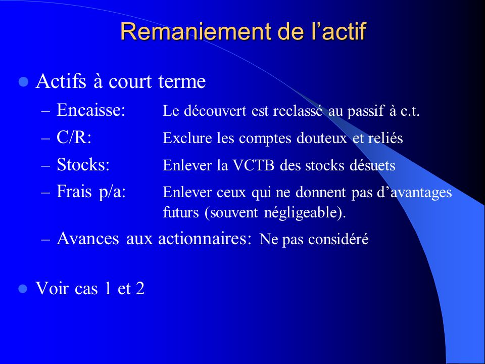 Remaniement de l'actif