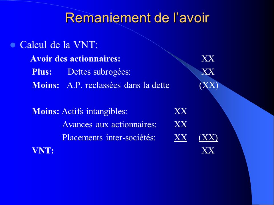 Remaniement de l'avoir