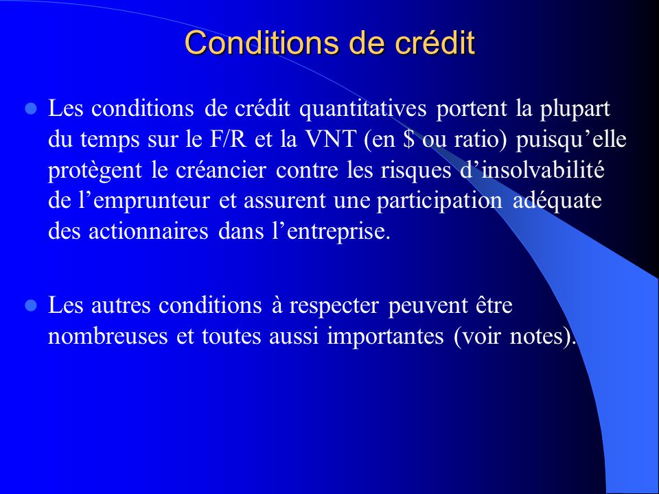 Conditions de crédit