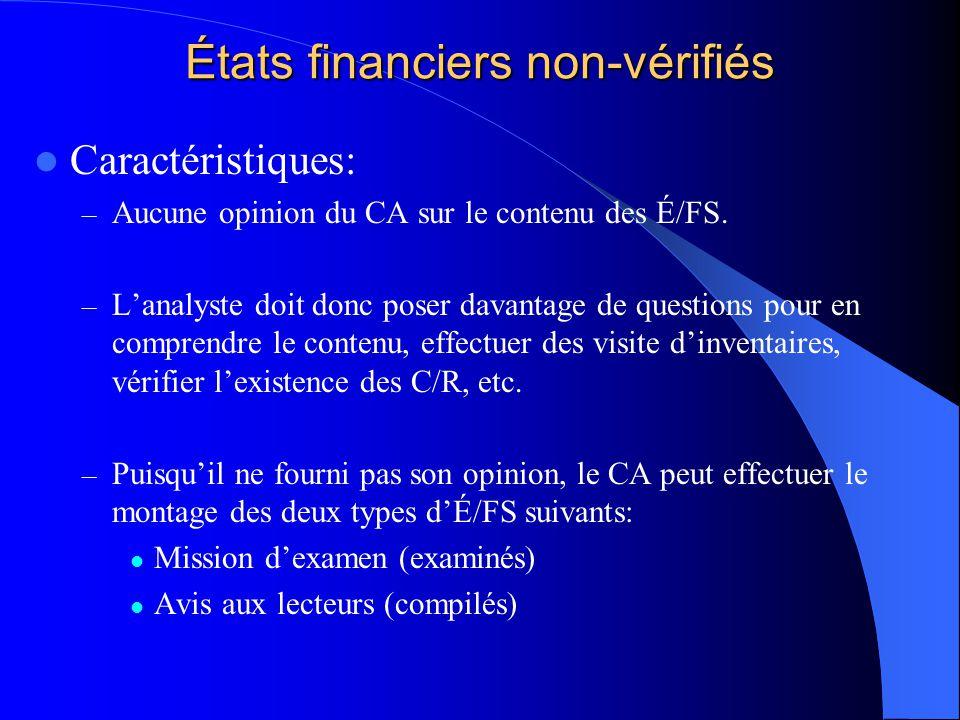 États financiers non-vérifiés