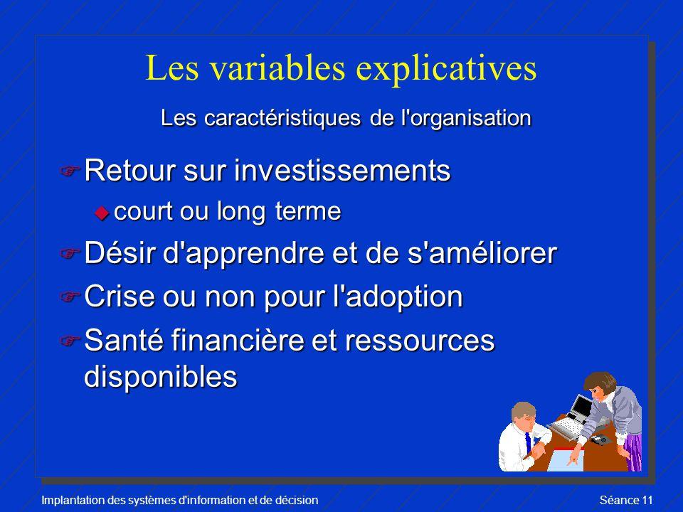 Les variables explicatives Les caractéristiques de l organisation