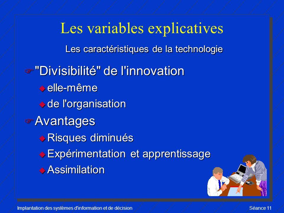 Les variables explicatives Les caractéristiques de la technologie