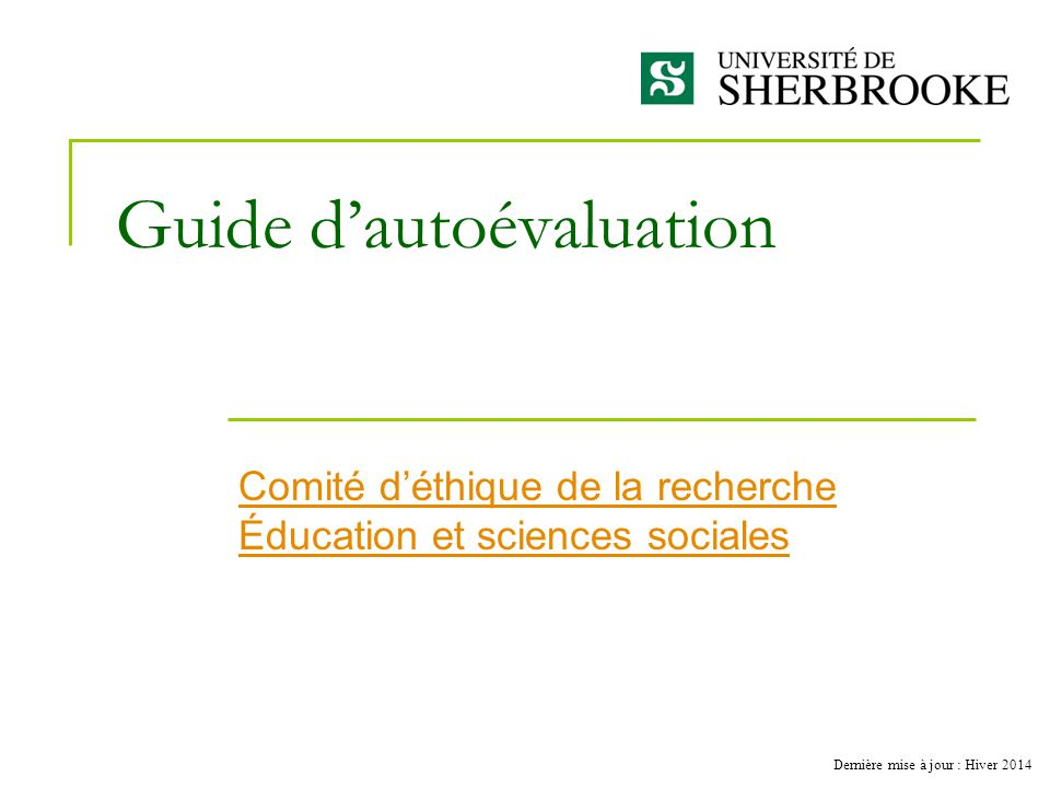 Guide d'autoévaluation