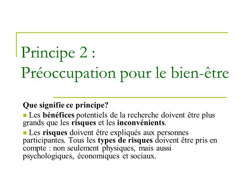 Principe 2 : Préoccupation pour le bien-être