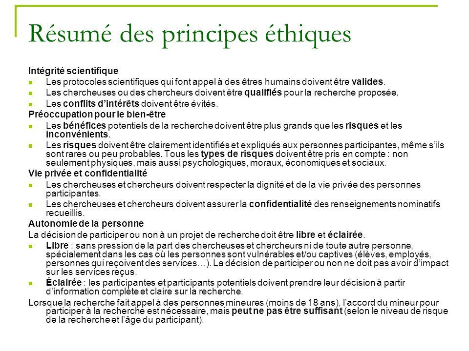 Résumé des principes éthiques