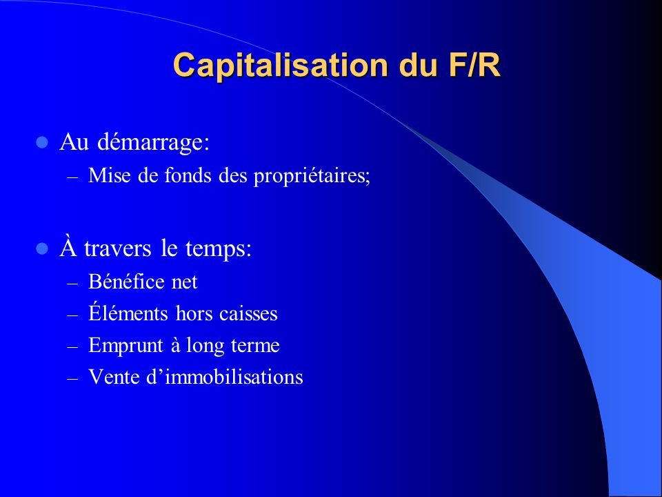 Capitalisation du F/R Au démarrage: À travers le temps: