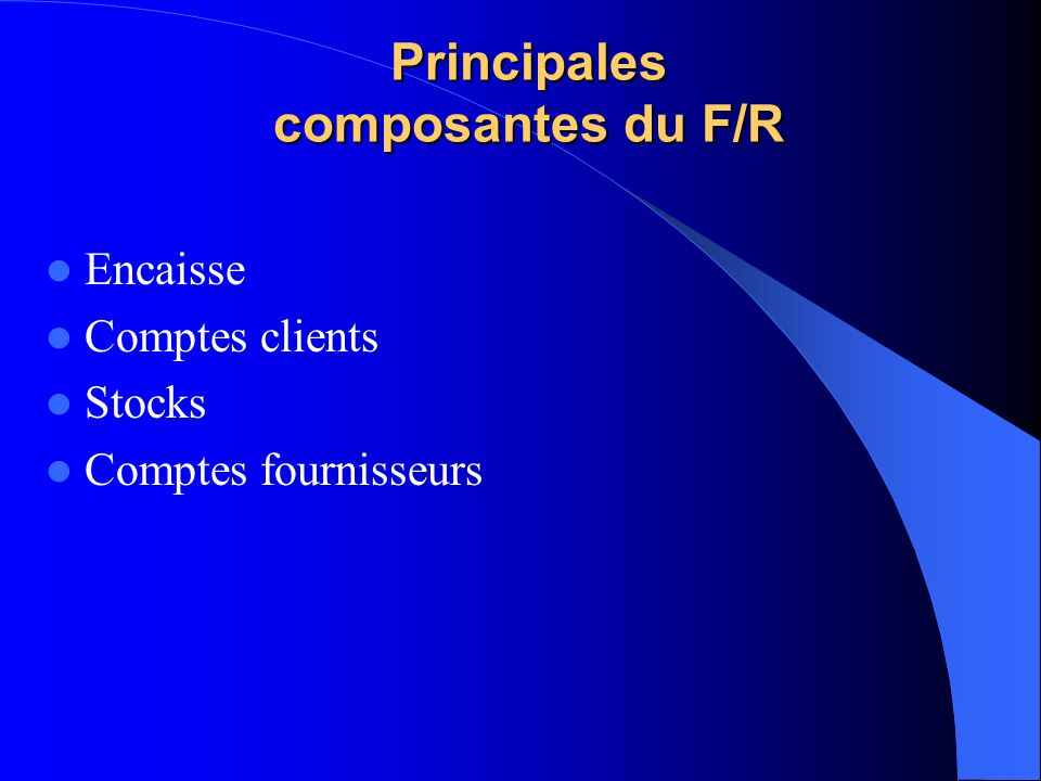 Principales composantes du F/R