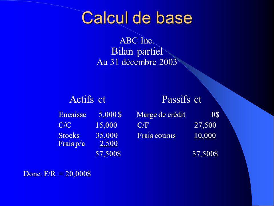 Calcul de base Bilan partiel Actifs ct Passifs ct