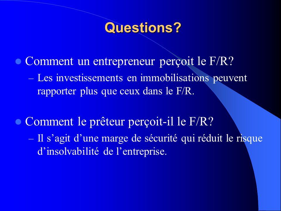 Questions Comment un entrepreneur perçoit le F/R