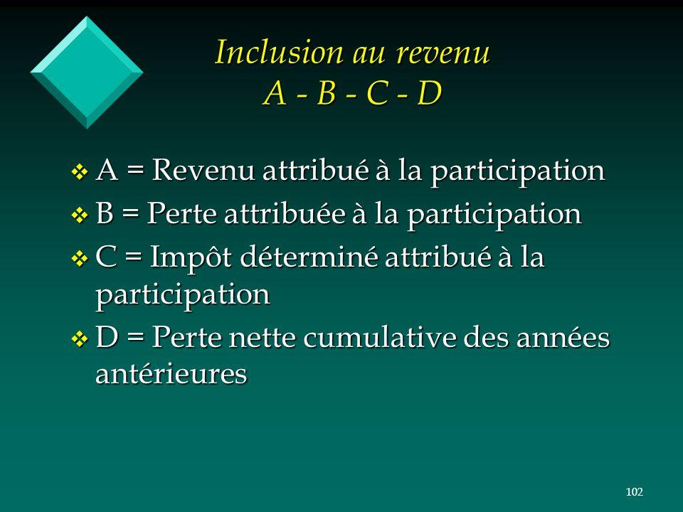 Inclusion au revenu A - B - C - D