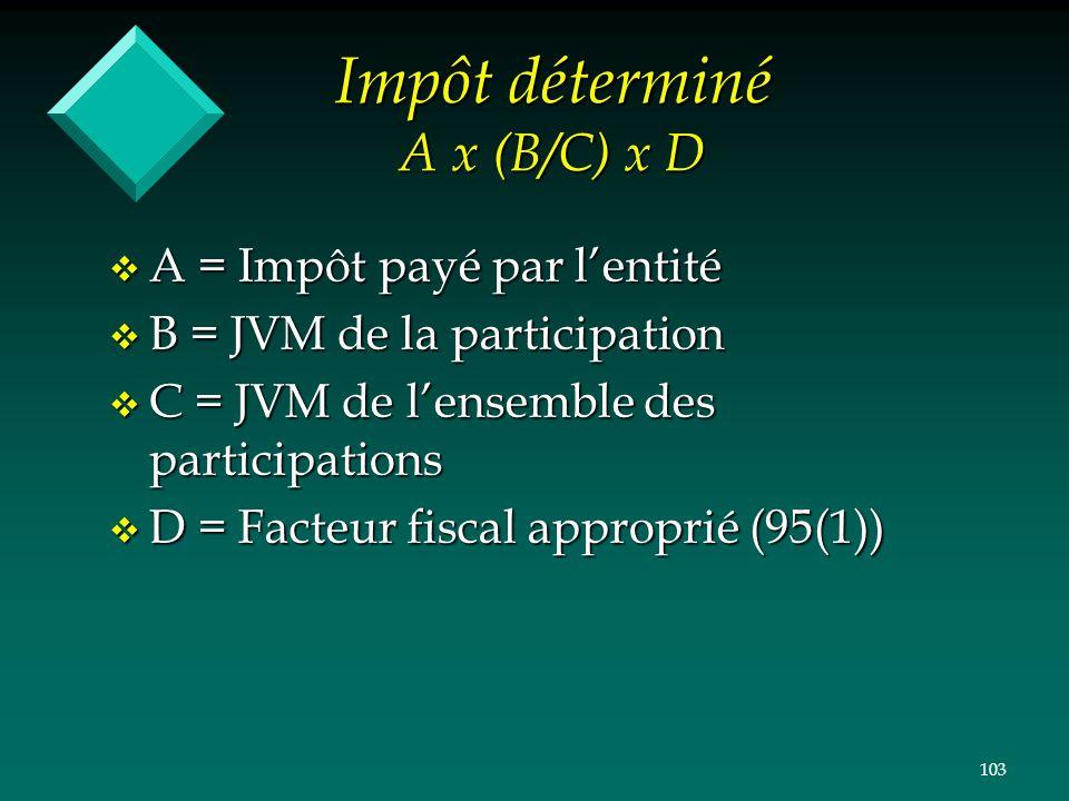 Impôt déterminé A x (B/C) x D