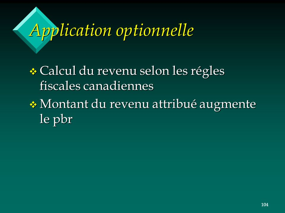 Application optionnelle