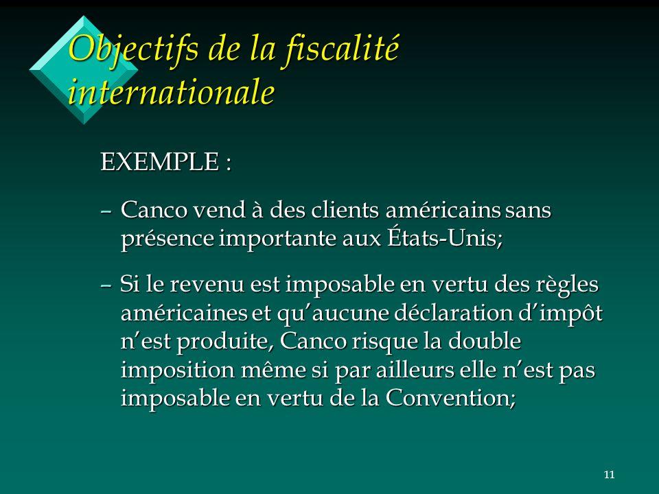 Objectifs de la fiscalité internationale
