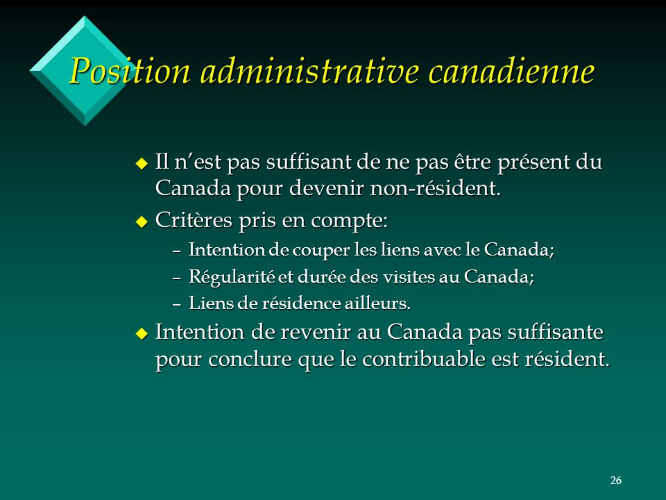 Position administrative canadienne